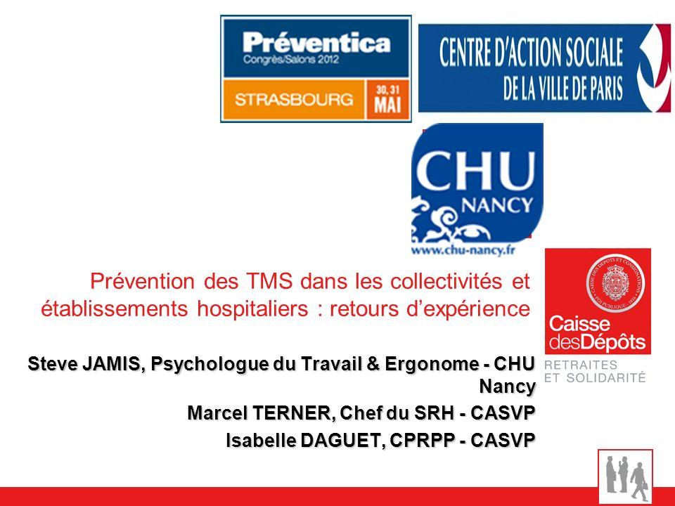 Prévention des TMS dans les collectivités et établissements hospitaliers : retours dexpérience Steve JAMIS, Psychologue du Travail & Ergonome - CHU Na