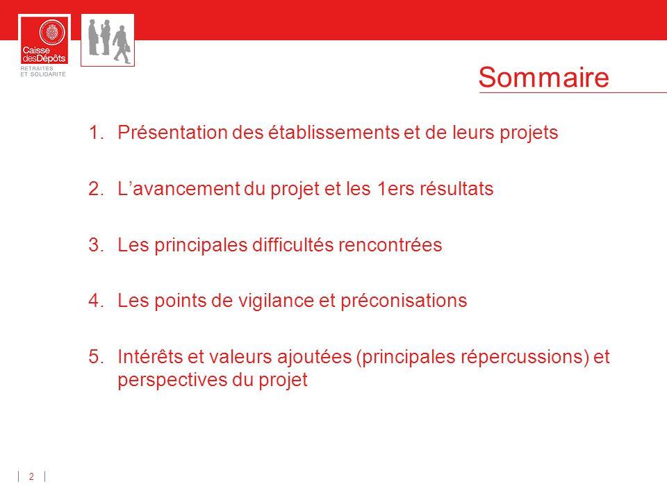 Sommaire 2 1.Présentation des établissements et de leurs projets 2.Lavancement du projet et les 1ers résultats 3.Les principales difficultés rencontré