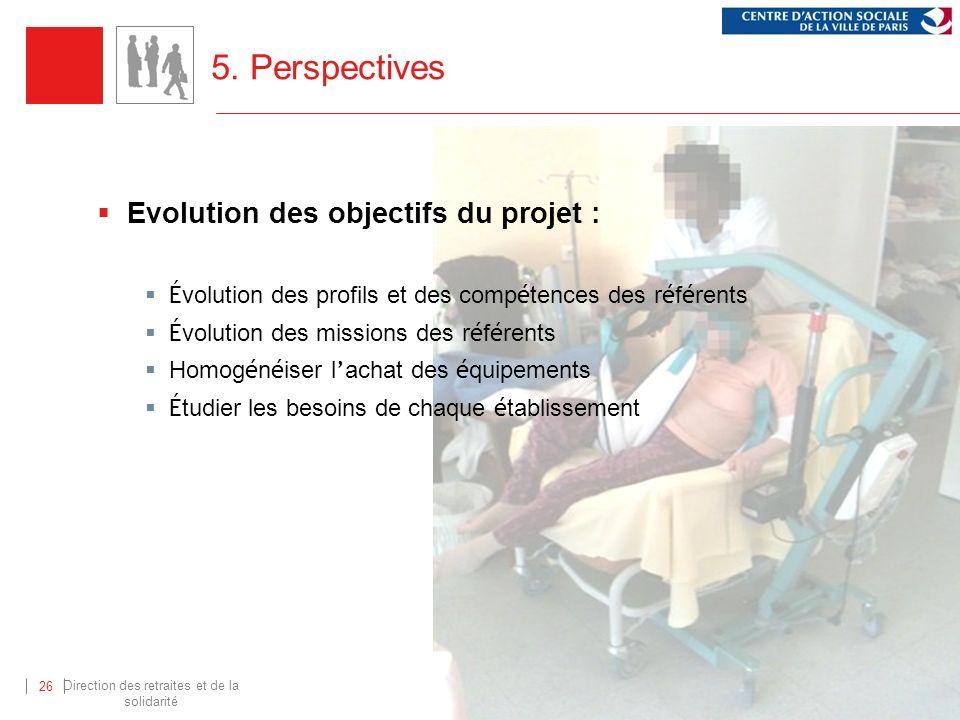 Direction des retraites et de la solidarité 26 5. Perspectives Evolution des objectifs du projet : É volution des profils et des comp é tences des r é