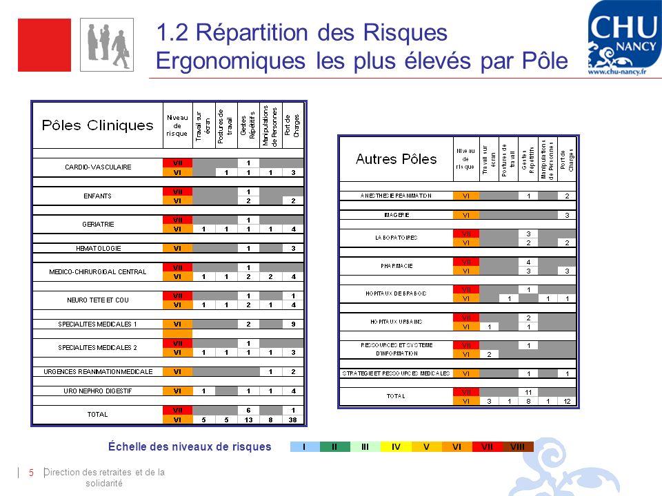 Direction des retraites et de la solidarité 5 1.2 Répartition des Risques Ergonomiques les plus élevés par Pôle Échelle des niveaux de risques