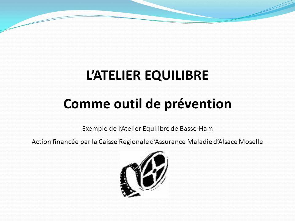 LATELIER EQUILIBRE Comme outil de prévention Exemple de lAtelier Equilibre de Basse-Ham Action financée par la Caisse Régionale dAssurance Maladie dAl