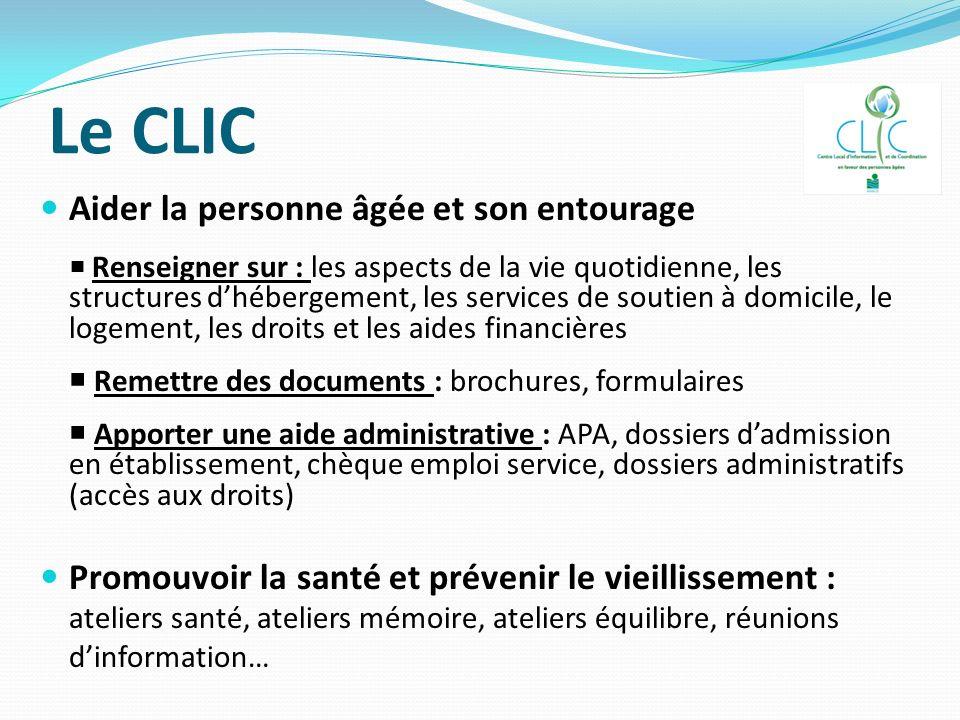 Le CLIC Aider la personne âgée et son entourage Renseigner sur : les aspects de la vie quotidienne, les structures dhébergement, les services de souti