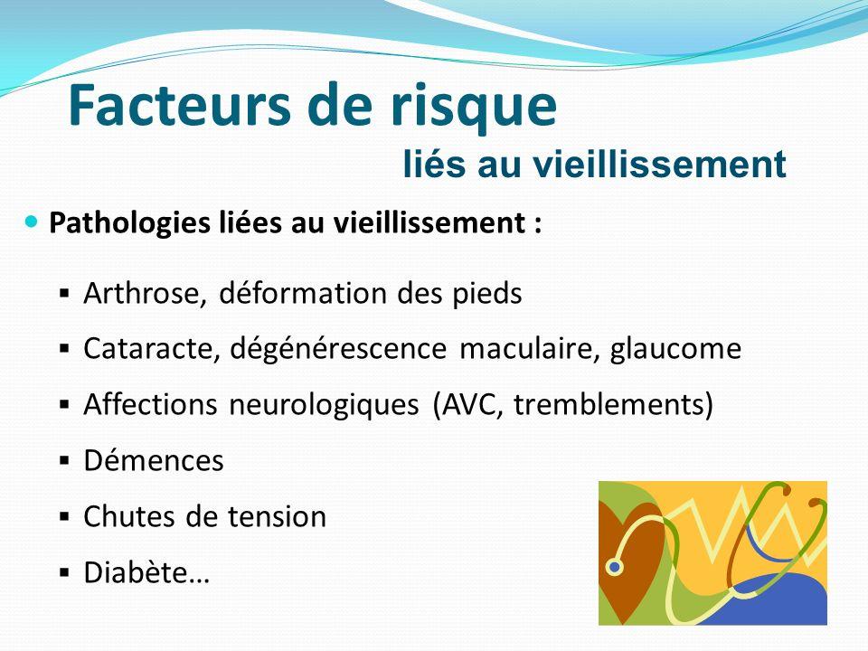 Pathologies liées au vieillissement : Arthrose, déformation des pieds Cataracte, dégénérescence maculaire, glaucome Affections neurologiques (AVC, tre