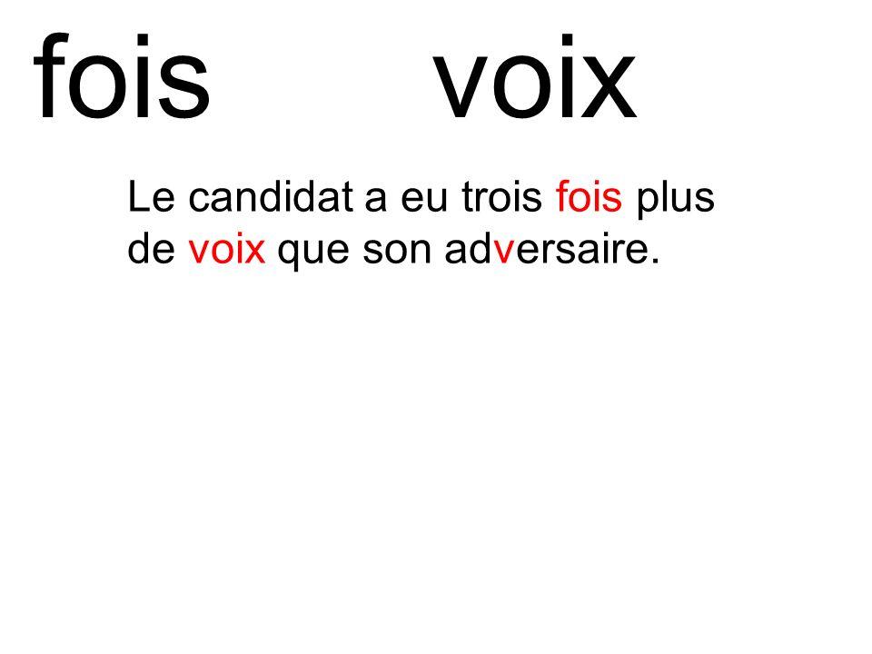 foisvoix Le candidat a eu trois fois plus de voix que son adversaire.
