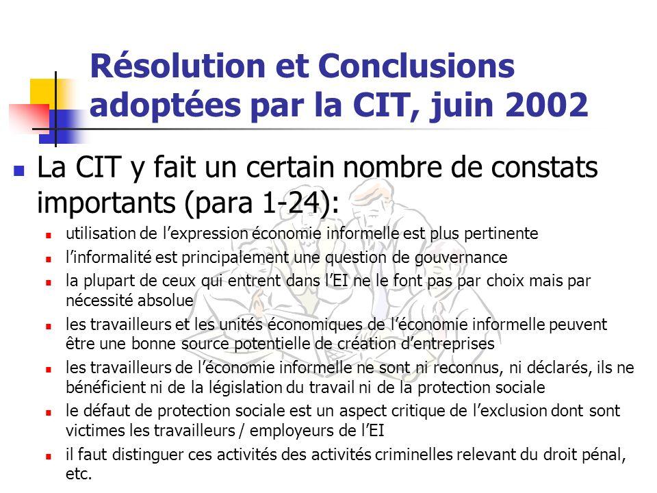 Résolution et Conclusions adoptées par la CIT, juin 2002 La CIT y fait un certain nombre de constats importants (para 1-24): utilisation de lexpressio