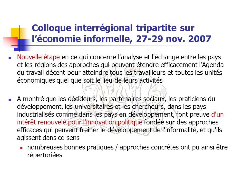Colloque interrégional tripartite sur léconomie informelle, 27-29 nov. 2007 Nouvelle étape en ce qui concerne l'analyse et l'échange entre les pays et