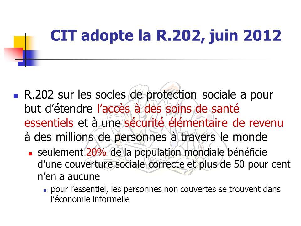 CIT adopte la R.202, juin 2012 R.202 sur les socles de protection sociale a pour but détendre laccès à des soins de santé essentiels et à une sécurité