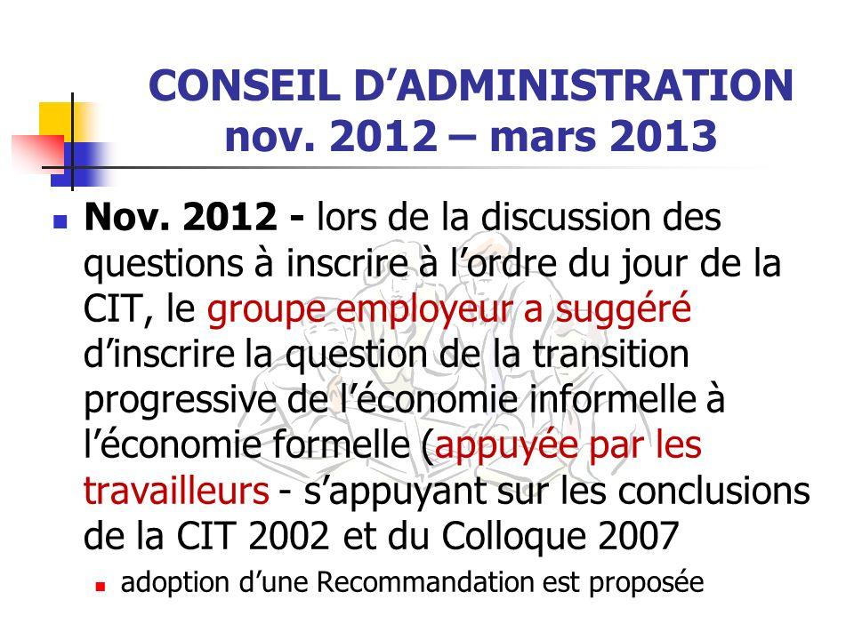CONSEIL DADMINISTRATION nov. 2012 – mars 2013 Nov. 2012 - lors de la discussion des questions à inscrire à lordre du jour de la CIT, le groupe employe