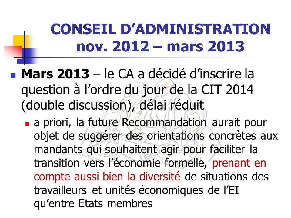 CONSEIL DADMINISTRATION nov. 2012 – mars 2013 Mars 2013 – le CA a décidé dinscrire la question à lordre du jour de la CIT 2014 (double discussion), dé