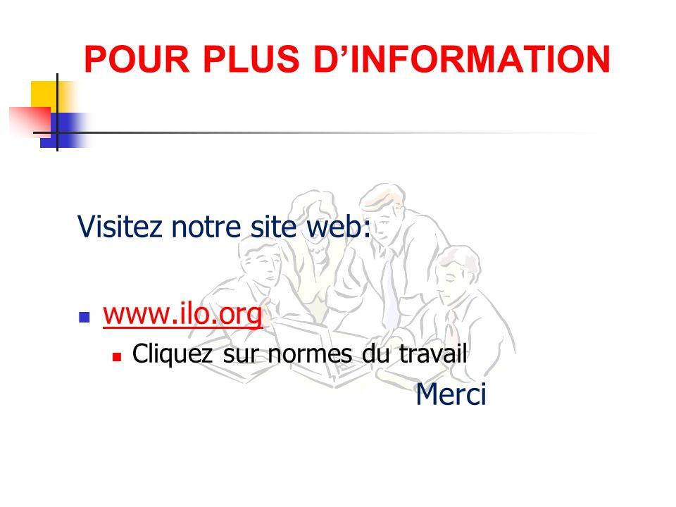 POUR PLUS DINFORMATION Visitez notre site web: www.ilo.org Cliquez sur normes du travail Merci