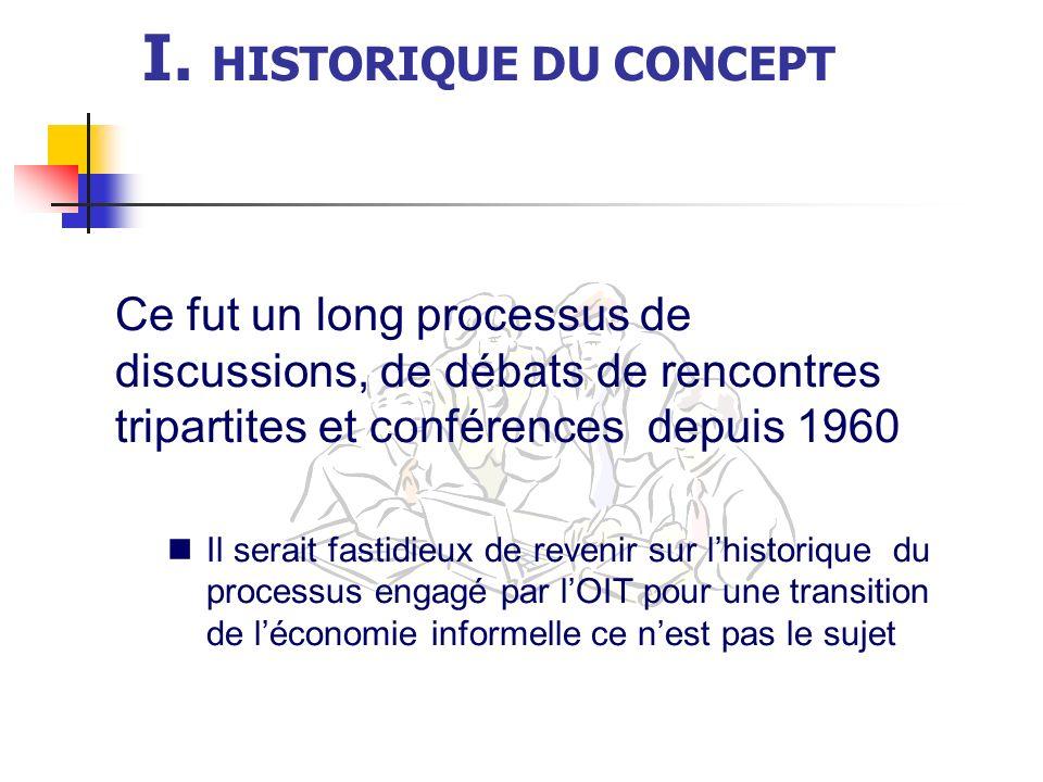 I. HISTORIQUE DU CONCEPT Ce fut un long processus de discussions, de débats de rencontres tripartites et conférences depuis 1960 Il serait fastidieux