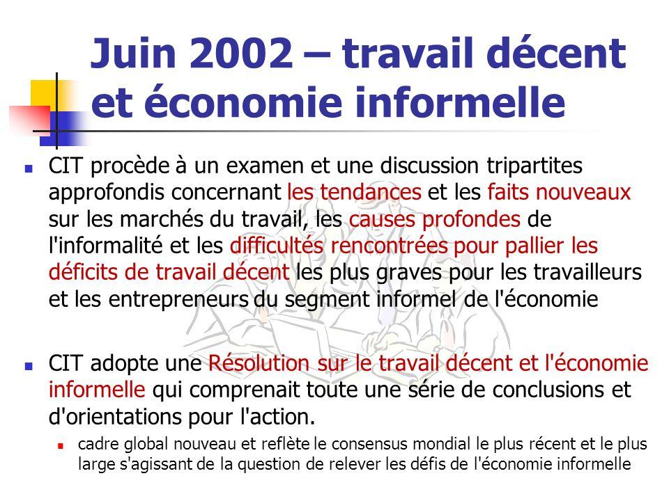 Juin 2002 – travail décent et économie informelle CIT procède à un examen et une discussion tripartites approfondis concernant les tendances et les fa