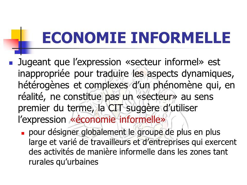 ECONOMIE INFORMELLE Jugeant que lexpression «secteur informel» est inappropriée pour traduire les aspects dynamiques, hétérogènes et complexes dun phé