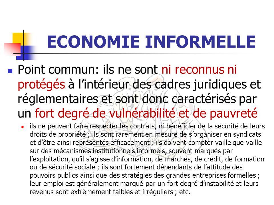 ECONOMIE INFORMELLE Point commun: ils ne sont ni reconnus ni protégés à lintérieur des cadres juridiques et réglementaires et sont donc caractérisés p