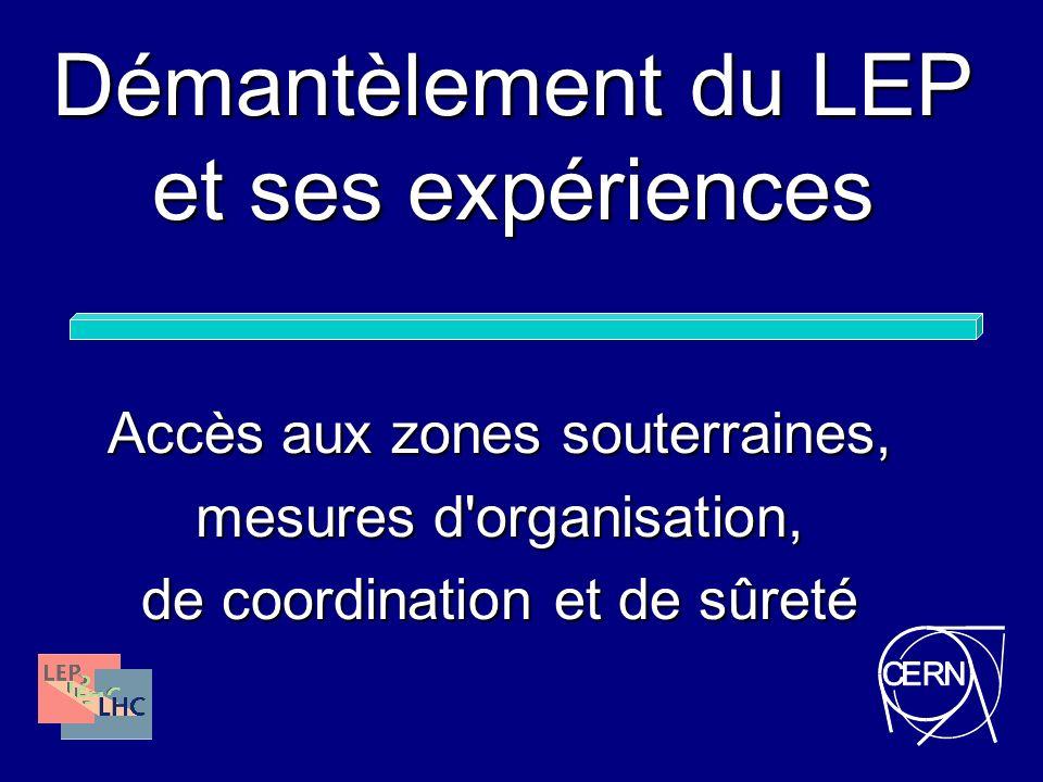 Démantèlement du LEP et ses expériences Accès aux zones souterraines, mesures d'organisation, de coordination et de sûreté
