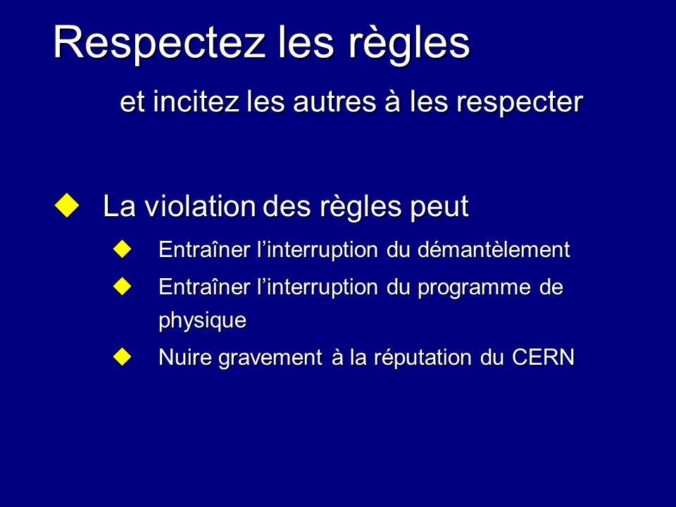 Respectez les règles et incitez les autres à les respecter La violation des règles peut La violation des règles peut Entraîner linterruption du démant