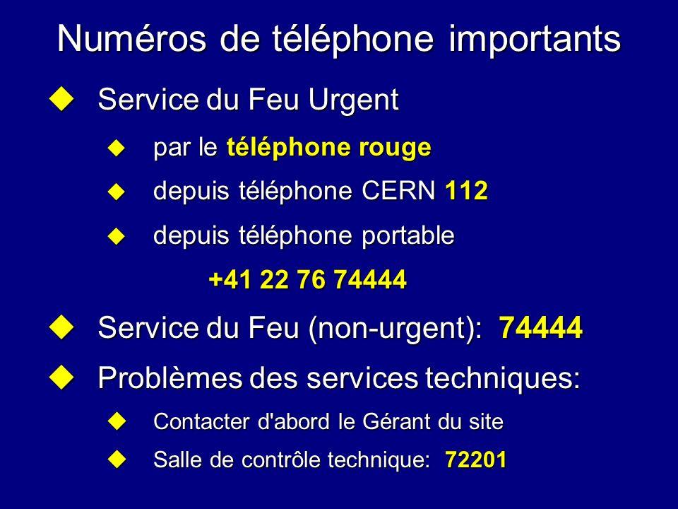 Numéros de téléphone importants Service du Feu Urgent Service du Feu Urgent par le téléphone rouge par le téléphone rouge depuis téléphone CERN 112 de