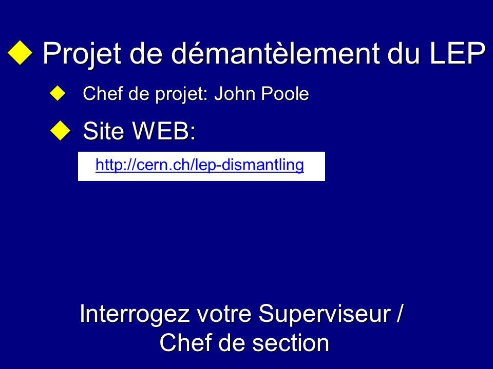 Projet de démantèlement du LEP Projet de démantèlement du LEP Chef de projet: John Poole Chef de projet: John Poole Site WEB: Site WEB: Interrogez vot