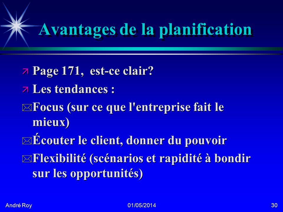 André Roy 01/05/201430 Avantages de la planification ä Page 171, est-ce clair.