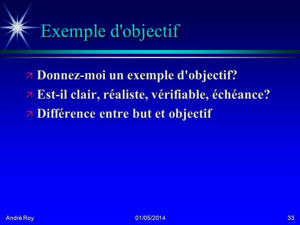André Roy 01/05/201433 Exemple d objectif ä Donnez-moi un exemple d objectif.