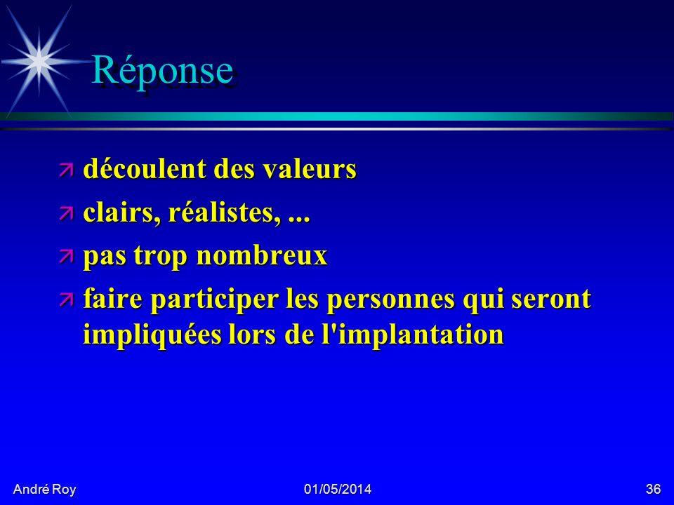 André Roy 01/05/201436 Réponse ä découlent des valeurs ä clairs, réalistes,...