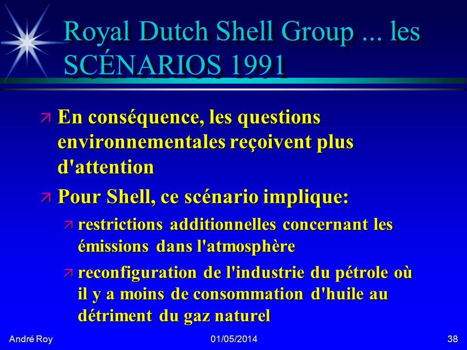 André Roy 01/05/201438 Royal Dutch Shell Group... les SCÉNARIOS 1991 ä En conséquence, les questions environnementales reçoivent plus d'attention ä Po