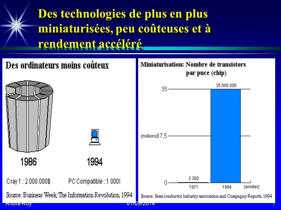 André Roy 01/05/20147 Des technologies de plus en plus miniaturisées, peu coûteuses et à rendement accéléré