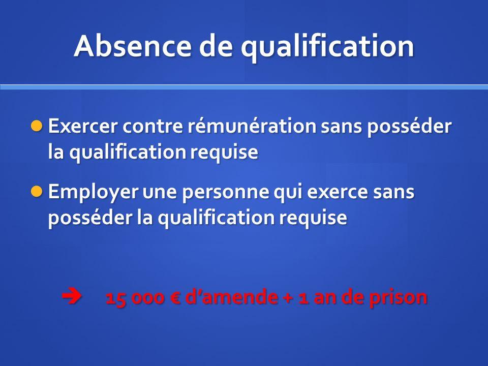 Absence de qualification Exercer contre rémunération sans posséder la qualification requise Exercer contre rémunération sans posséder la qualification