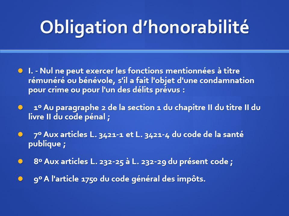 Obligation dhonorabilité I. - Nul ne peut exercer les fonctions mentionnées à titre rémunéré ou bénévole, s'il a fait l'objet d'une condamnation pour