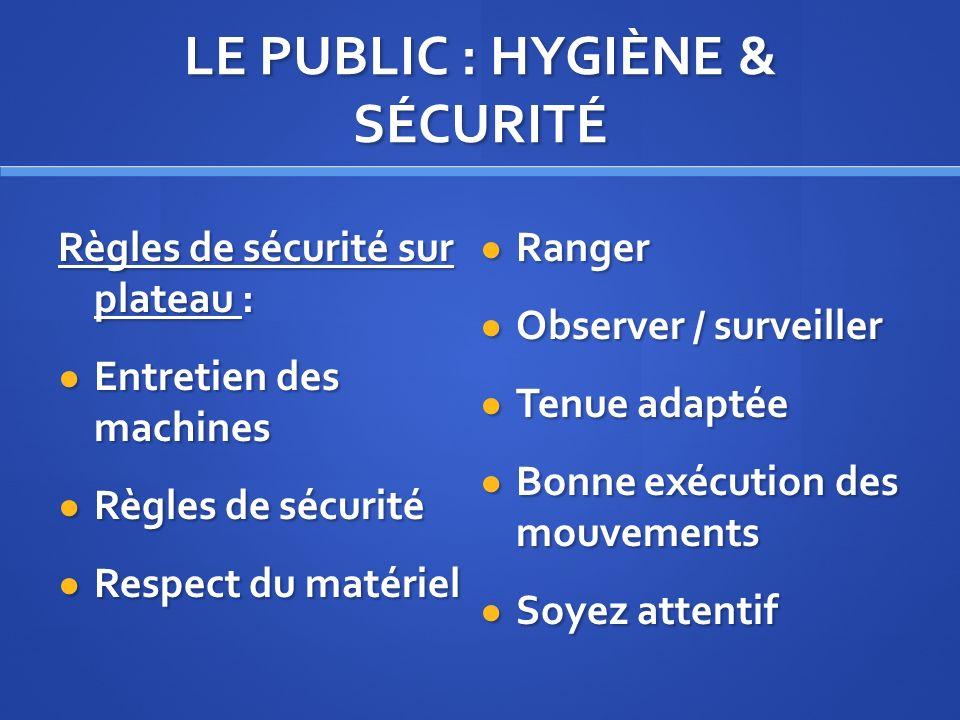LE PUBLIC : HYGIÈNE & SÉCURITÉ Règles de sécurité sur plateau : Entretien des machines Entretien des machines Règles de sécurité Règles de sécurité Re