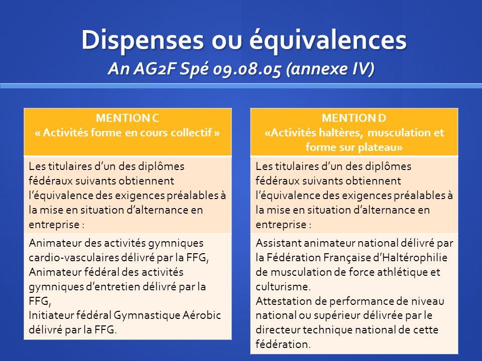 Dispenses ou équivalences An AG2F Spé 09.08.05 (annexe IV) Dispenses ou équivalences An AG2F Spé 09.08.05 (annexe IV) MENTION C « Activités forme en c