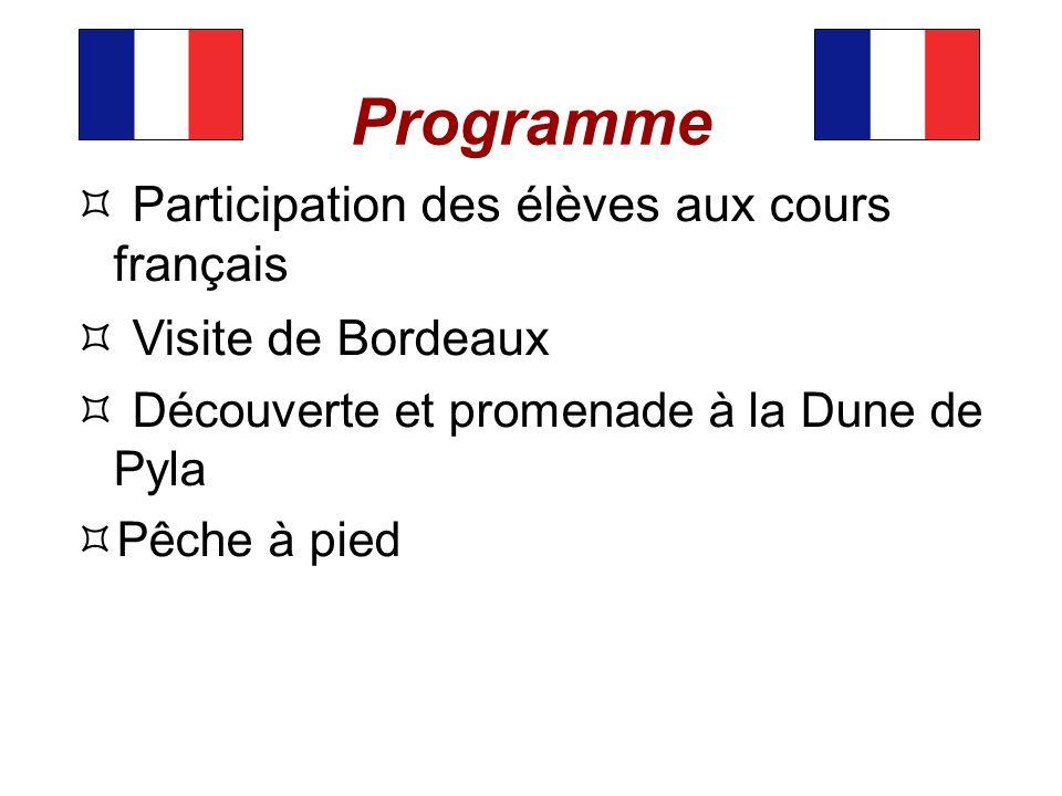 Programme Participation des élèves aux cours français Visite de Bordeaux Découverte et promenade à la Dune de Pyla Pêche à pied