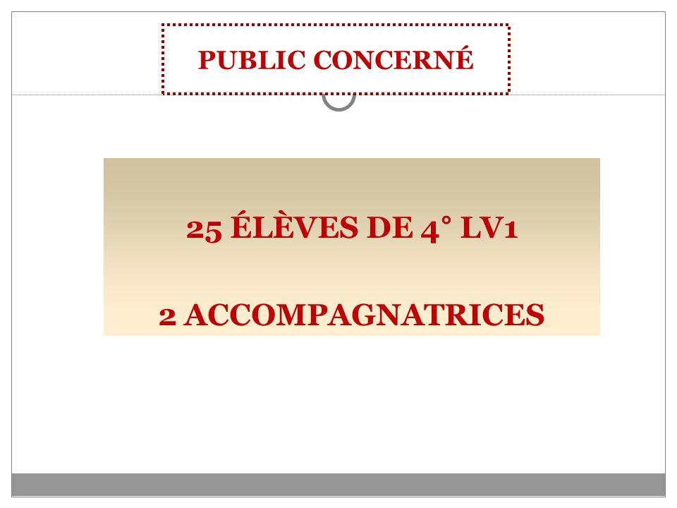 25 ÉLÈVES DE 4° LV1 2 ACCOMPAGNATRICES PUBLIC CONCERNÉ