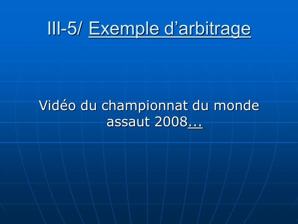 III-5/ Exemple darbitrage Vidéo du championnat du monde assaut 2008......