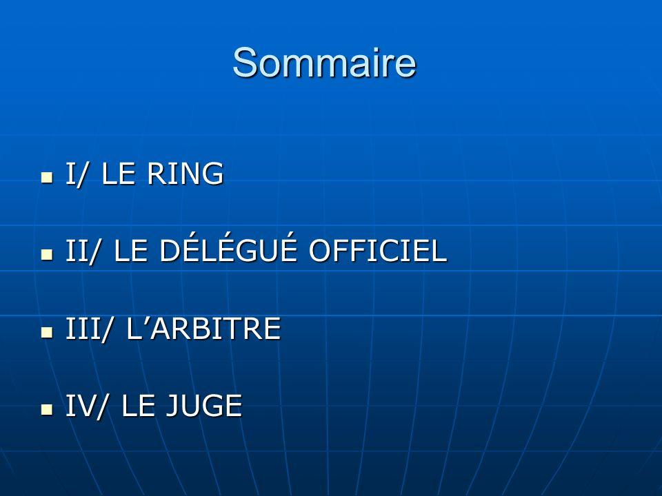 Sommaire I/ LE RING I/ LE RING II/ LE DÉLÉGUÉ OFFICIEL II/ LE DÉLÉGUÉ OFFICIEL III/ LARBITRE III/ LARBITRE IV/ LE JUGE IV/ LE JUGE