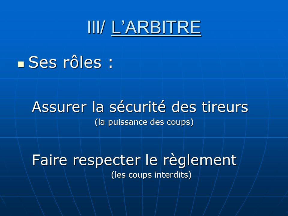 III/ LARBITRE Ses rôles : Ses rôles : Assurer la sécurité des tireurs (la puissance des coups) Faire respecter le règlement (les coups interdits)