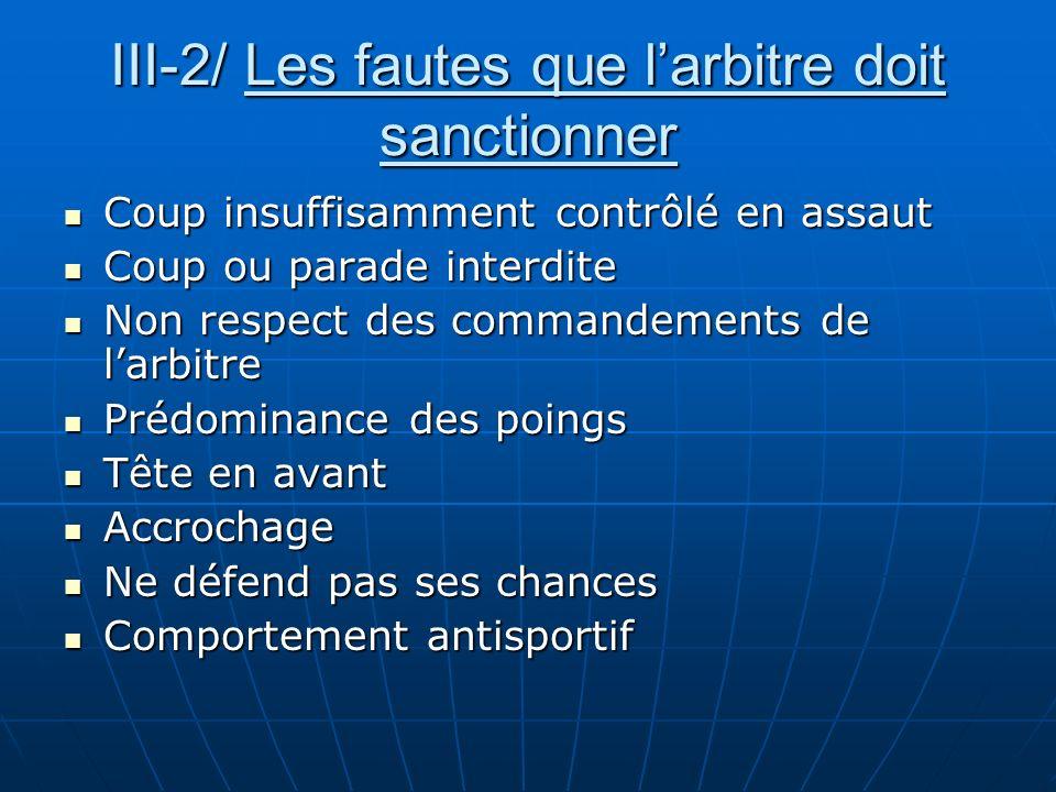 III-2/ Les fautes que larbitre doit sanctionner Coup insuffisamment contrôlé en assaut Coup insuffisamment contrôlé en assaut Coup ou parade interdite