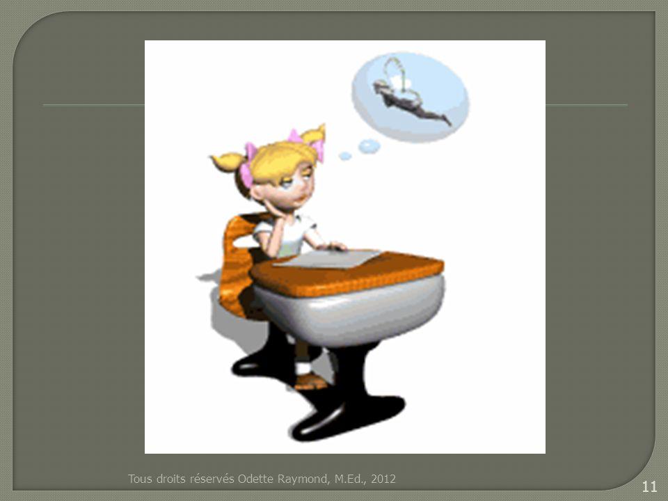 Tous droits réservés Odette Raymond, M.Ed., 2012 11
