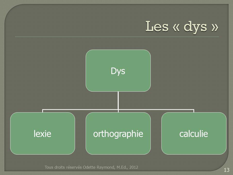 Dys lexieorthographiecalculie Tous droits réservés Odette Raymond, M.Ed., 2012 13