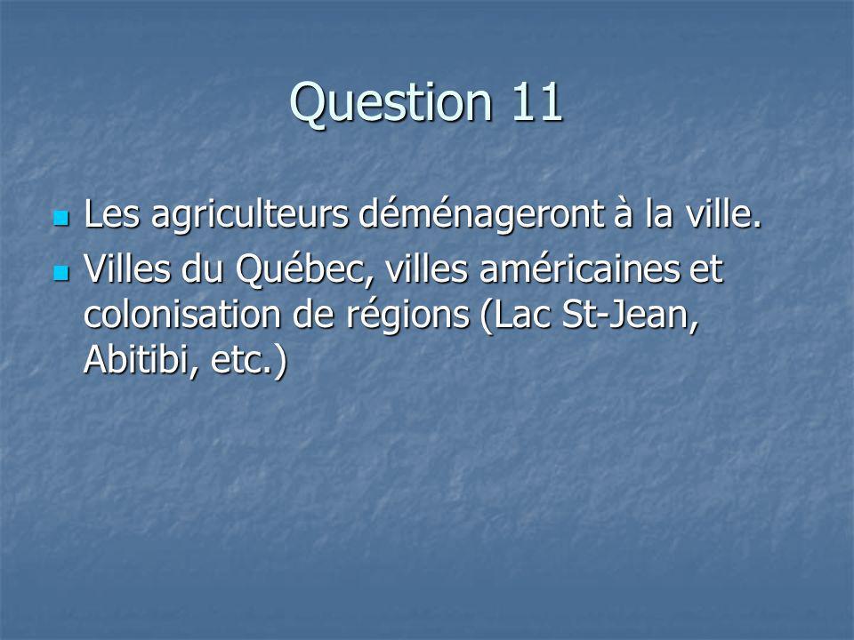 Question 11 Les agriculteurs déménageront à la ville.