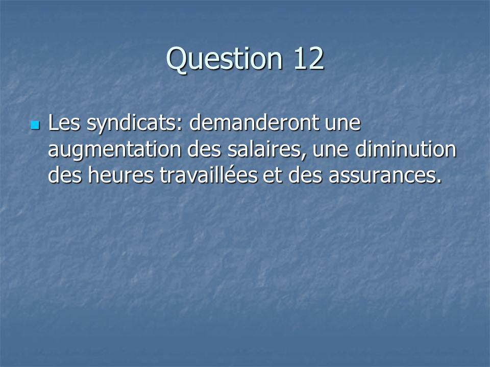 Question 12 Les syndicats: demanderont une augmentation des salaires, une diminution des heures travaillées et des assurances.