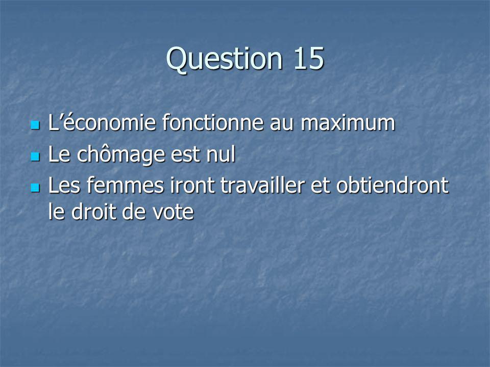 Question 15 Léconomie fonctionne au maximum Léconomie fonctionne au maximum Le chômage est nul Le chômage est nul Les femmes iront travailler et obtiendront le droit de vote Les femmes iront travailler et obtiendront le droit de vote
