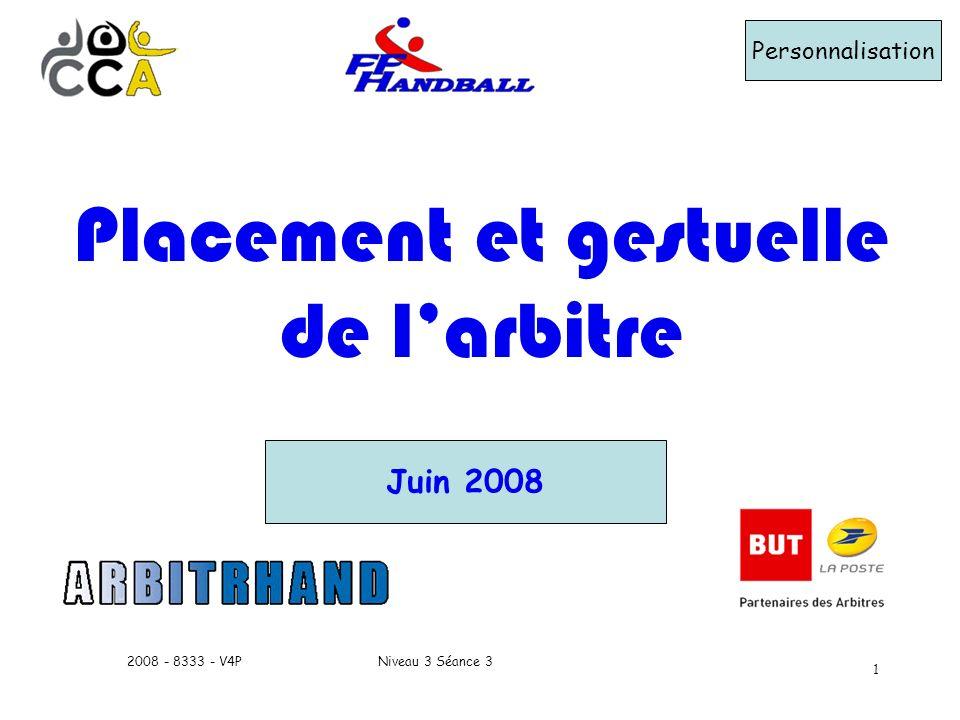 Niveau 3 Séance 32008 - 8333 - V4P 1 Personnalisation Juin 2008 Placement et gestuelle de larbitre