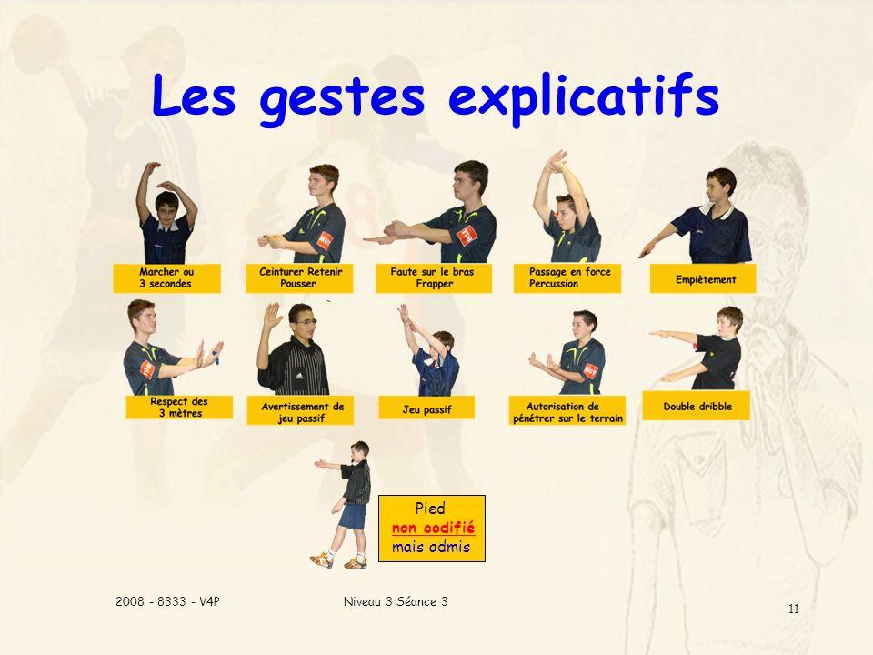 Niveau 3 Séance 32008 - 8333 - V4P 11 Les gestes explicatifs Pied non codifié mais admis