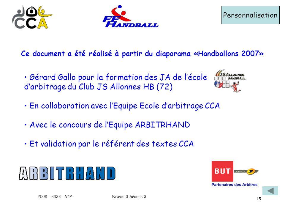 Niveau 3 Séance 32008 - 8333 - V4P 15 Ce document a été réalisé à partir du diaporama «Handballons 2007» Gérard Gallo pour la formation des JA de léco