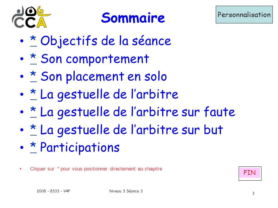 Niveau 3 Séance 32008 - 8333 - V4P 3 Sommaire Personnalisation * Objectifs de la séance * * Son comportement * * Son placement en solo * * La gestuell