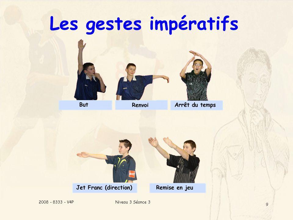 Niveau 3 Séance 32008 - 8333 - V4P 9 Les gestes impératifs