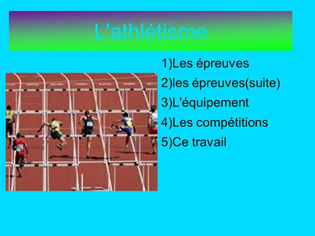 L athlétisme 1)Les épreuves 2)les épreuves(suite) 3)L équipement 4)Les compétitions 5)Ce travail