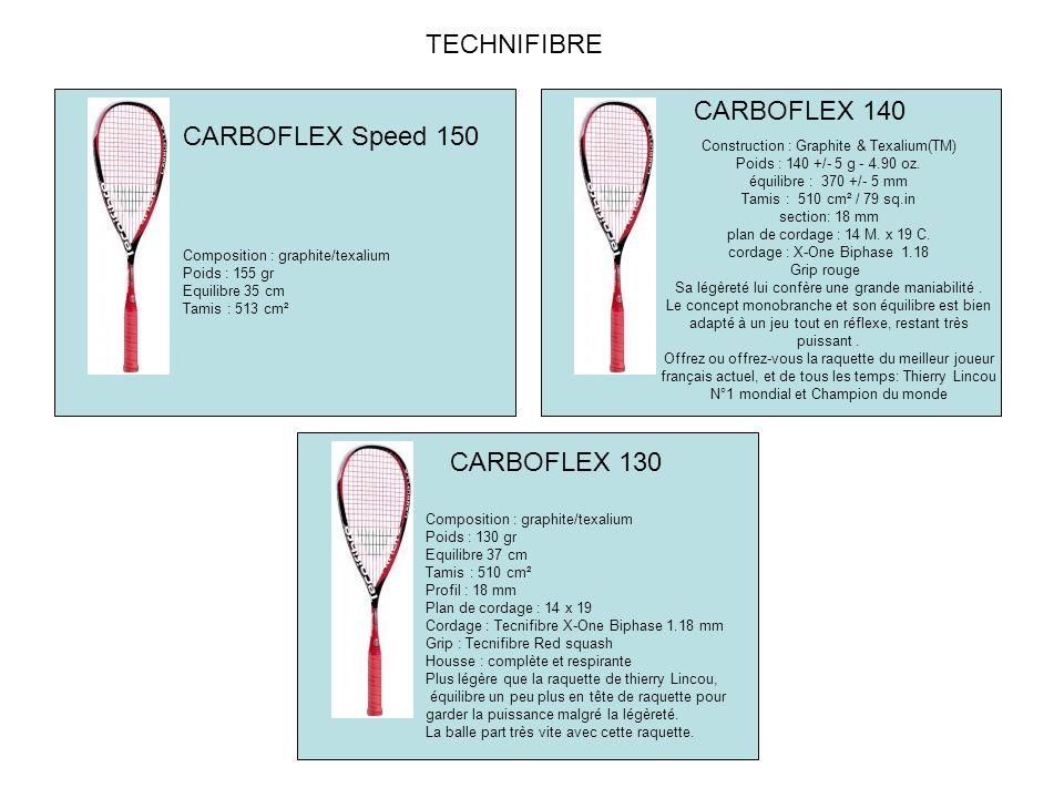 CARBOFLEX 140 TECHNIFIBRE Composition : graphite/texalium Poids : 130 gr Equilibre 37 cm Tamis : 510 cm² Profil : 18 mm Plan de cordage : 14 x 19 Cordage : Tecnifibre X-One Biphase 1.18 mm Grip : Tecnifibre Red squash Housse : complète et respirante Plus légère que la raquette de thierry Lincou, équilibre un peu plus en tête de raquette pour garder la puissance malgré la légèreté.