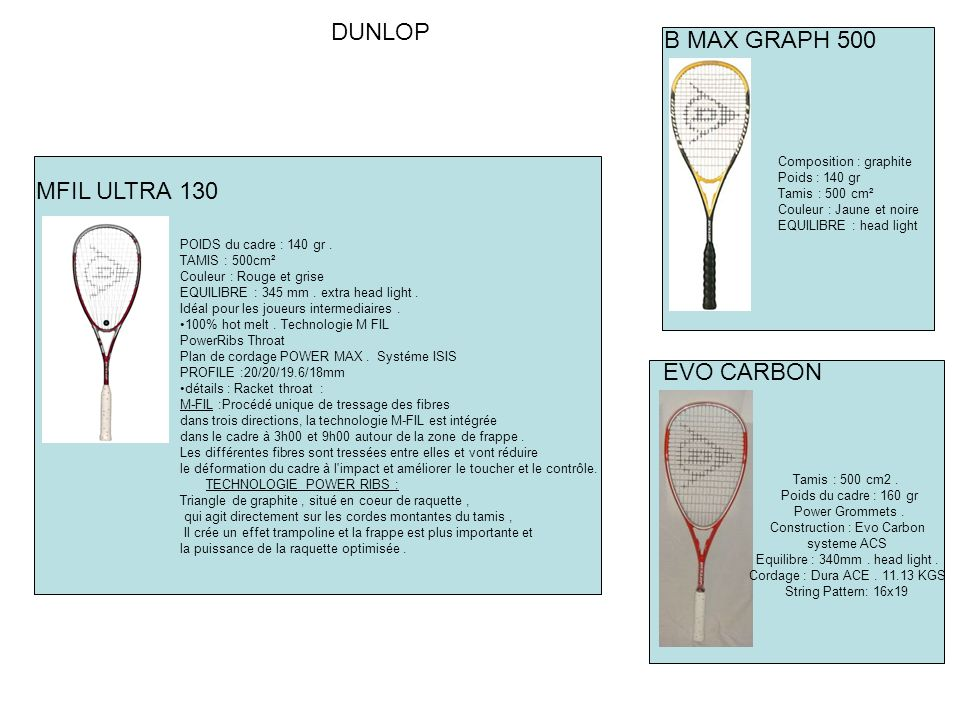 MFIL ULTRA 130 DUNLOP Composition : graphite Poids : 140 gr Tamis : 500 cm² Couleur : Jaune et noire EQUILIBRE : head light B MAX GRAPH 500 POIDS du cadre : 140 gr.